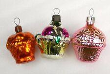 3 Vintage Silver Glass Weihnachten Ornament Christmas Tree Baumschmuck Baskets