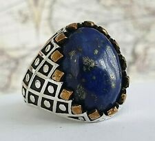 7Turkish Ottoman  Lapis Lazuli Gemstone 925 Sterling Silver Mens Ring Gemstone