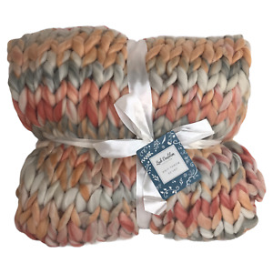 """Silver One Chunky Knitted Throw Blanket 50"""" x 60"""" Preppy Hues Lush Dandelion"""
