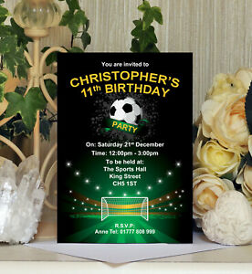 Personalised Football Themed Party Birthday Invitations Invites Kids Childrens