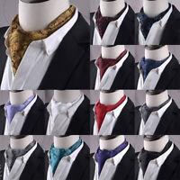 Western Paisley Mens Silk Ascot Tie Cravat Scarfs Formal Party Jacquard Necktie
