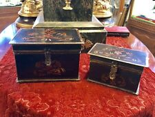 Pair of Tole Hand Painted Metal Lock Boxes