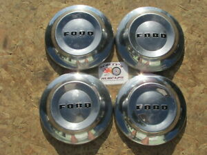 1952-54 FORD CUSTOMLINE, MAINLINE ~POVERTY~ DOG DISH HUBCAPS, SET OF 4