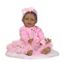"22"" Black Girl Reborn Baby Dolls Newborn Vinyl Silicone Toddler Ethnic Doll"