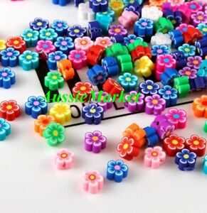50 x flower floral clay beads 7mm - 11mm polymer handmade mixed colours sizes