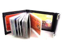 High Quality Soft Black Leather Credit Card Holder upto 20 Cards RFID Blocking
