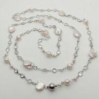 "GE093005 20/"" White Keshi Pearl Necklace CZ Pendant"