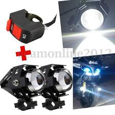 2x U5 125W 3000LM Car Motorcycle Pit LED Head Light Driving Fog Spot Lamp Switch