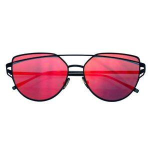 New Oversized Cat Eye Sunglasses Flat Mirrored Lens Metal Frame Women Fashion EE