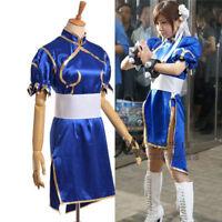 Chun Li Blue Dress Anime Street Fighter Cosplay Costume Girls Dress + Headwear*2
