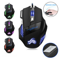 Gaming Mouse 7 Button LED Breathing Fire Button 2500 DPI USB Wired Laptop PC