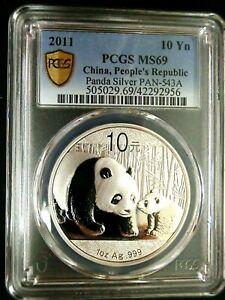 PCGS MS69 Gold Shield-China 2011 Panda Silver $10 Almost Perfect GEMBU Scarce