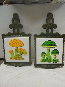 2 Vintage Cast Iron Mushroom Trivets/Wall Plaques 1970s Green & Orange Retro