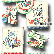 Vintage 50s Embroidery pattern ~ Bunnies & Teddy Bears doing chores
