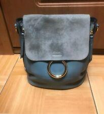 Chloe Mini Faye Backpack Shoulder Bag Blue Leather Suede