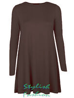 S230 Women Ladies Plain Long Sleeve Stretch A Line Flared Swing Dress Plus size