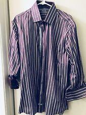 NWOT English Laundry Men's Long Sleeve Dress Shirt Sz 17-32/33 Eggplant Stripes