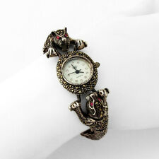 Ladies Figural Jaguar Wrist Watch Sterling Silver Marcasites