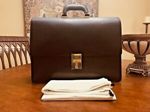 Authentic GUCCI of MILANO  Fine Black Leather Briefcase / Attache - ITALIA