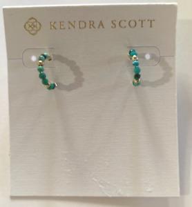 Kendra Scott Scarlet Huggie Gold-Tone Turquoise Blue Beaded Earrings