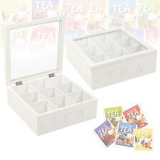 En bois mdf tea box 9 section clair couvercle compartiments récipient sac caddy ...