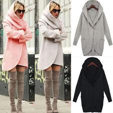 Womens Woolen Hooded Tops Loose Long Jacket Ladies Casual Warm Coats Overcoat UK