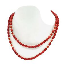 GSJ Gold Stone Jewelry Red Coral Beaded Necklace 14K Gold  Clasp