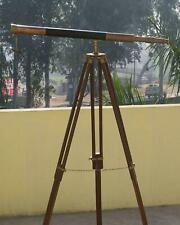"39"" Nautical Marine Antique Floor Standing Leather Telescope W/Tripod Home Decor"
