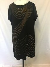 Studibaker Black with gold/ copper beads shift dress size 18