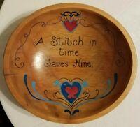 """Antique vintage primitive large 13"""" round wooden dough bowl Tole painted Sewing"""