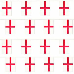 ENGLAND BUNTING 33FT ST GEORGES DAY FLAG DECORATION 20 FLAGS 10 METRES EURO 2021