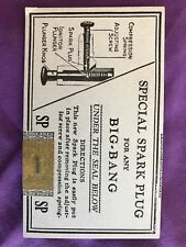 Big Bang Special Spark Plugs CARD AND PLUG for Cannon Conestoga Company 1930s