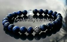 Sterling Silver Dragon Mens Wisdom Blue Tiger Eye Yoga Gemstone Stretch Bracelet