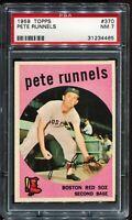 1959 Topps Baseball #370 PETE RUNNELS Boston Red Sox PSA 7 NM
