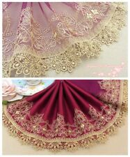 "8""*1Y Embroidered Floral Tulle Lace Trim~Purplish Red+Gold~Romantic Splendor~"