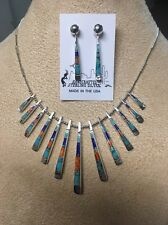 Navajo Native American Turquoise & MultIstone Inlay Reversible Necklace Nice #7