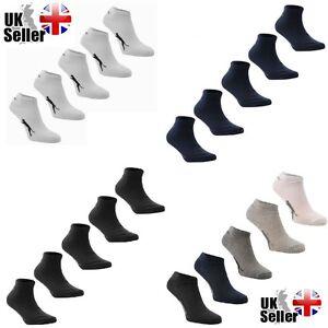 2-5 Pairs Slazenger Trainer Ankle Socks Mens Womens Kids White Black Navy Grey