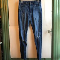 HOLLISTER Dark Regular Wash Ripped Distressed Skinny High Rise Jeans 3S 3 SHORT