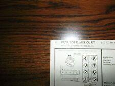 1979 Ford & Mercury Models 5.8 Litre 351 V8 2BBL SUN Tune Up Chart Great Shape!