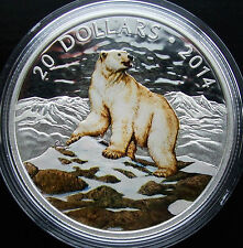 *RARE* CANADA $20 .999 Fine Silver 1 oz. Coin - Coloured Polar Bear 2014 SOLDOUT