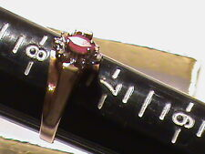 Beautiful 10k Gold  Red Stone  Ring with Diamonds,  Size 7,5