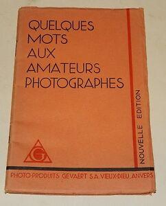 Dépliant GEVAERT : Quelques mots de GEVAERT aux Amateurs PHOTOGRAPHES