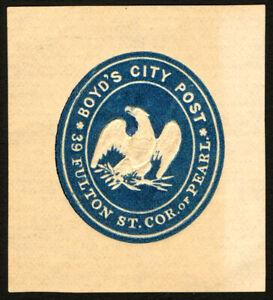 #20LU5 Boyd's Blue1864 VF Embossed Envelope on Amber VF CV $175