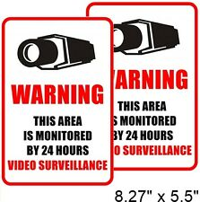 2 Home Security Video Surveillance Window Door Warning Vinyl Sticker Decal Sign