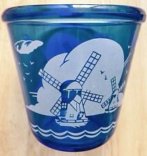(2) 1930s HAZEL ATLAS COBALT BLUE GLASS WINDMILL ICE BUCKET, WINDMILLS PATTERN