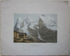 1850ca WENGERNALP litografia Fischer Ochsner Wengen Kleine Scheidegg Bern