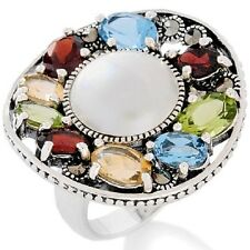 MARCASITE 12MM MABE PEARL GEM STERLING SILVER RING SIZE 7 HSN SOLD OUT