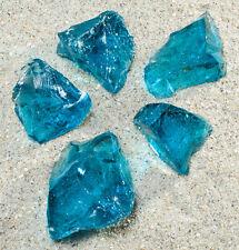 Glasbrocken Gartendeko Glasstein meerblau Glass stone ocean blue 40-120