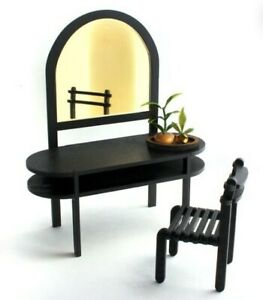 Miniature Dollhouse black Vanity With chair 1:12 Scale New furniture bedroom