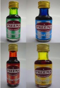 Preema Food Colouring Liquid Cake Decoration Icing  Desserts 4 Colors 28 ml